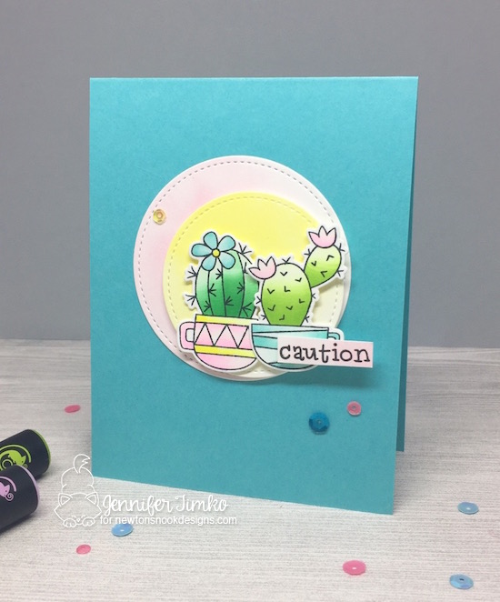 Caution Cactus Card by Jennifer Timko | Cuppa Cactus Coffee and Cactus stamp set by Newton's Nook Designs #newotnsnook