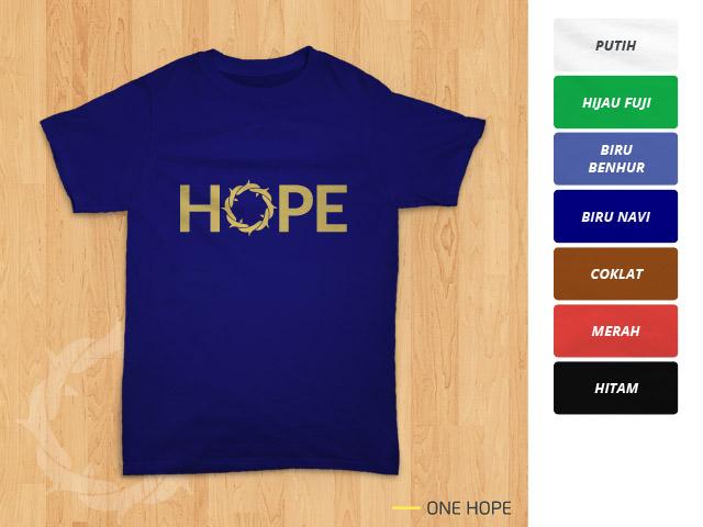 Tampilan kaos 'One Hope' berwarna biru navi
