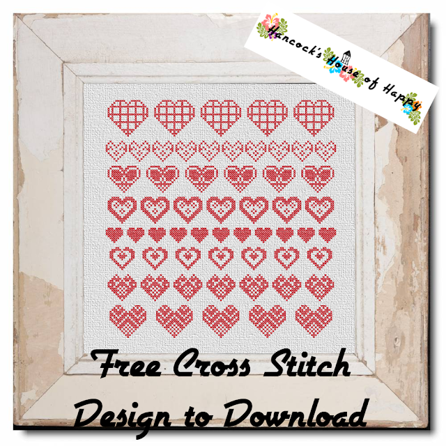 Traditional Cross Stitch Heart Motif Sampler Pattern Free to Download.