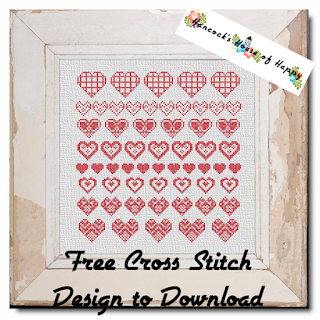 free hearts cross stitch sampler