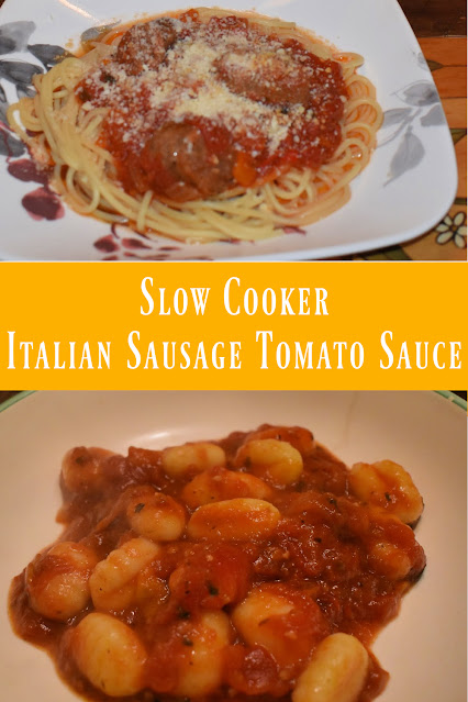 Slow Cooker Italian Sausage Tomato Sauce pin