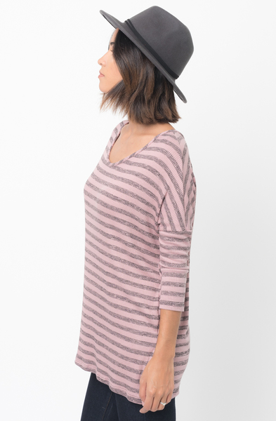 Shop for Berry Striped long sleeve pullover crew neck Tunic Online - $38 - on caralase.com