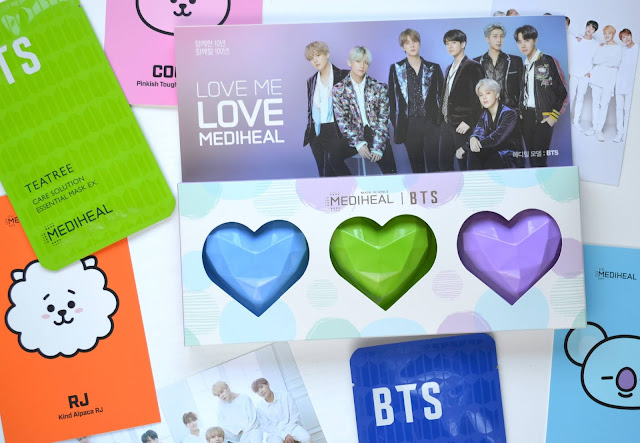 BTS Mediheal Capsulin Love Me Mask Flatlay