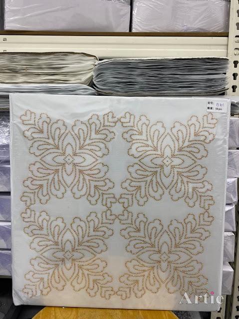 Hotfix stickers dmc rhinestone aplikasi tudung bawal fabrik pakaian corak bunga 4 bucu gold