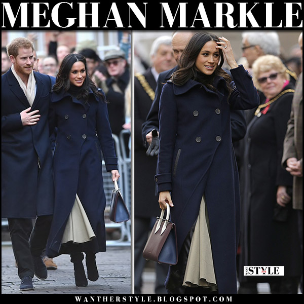 Meghan Markle in blue navy coat, beige skirt joseph laurel and black suede boots kurt geiger with Prince Harry royal fashion december 1