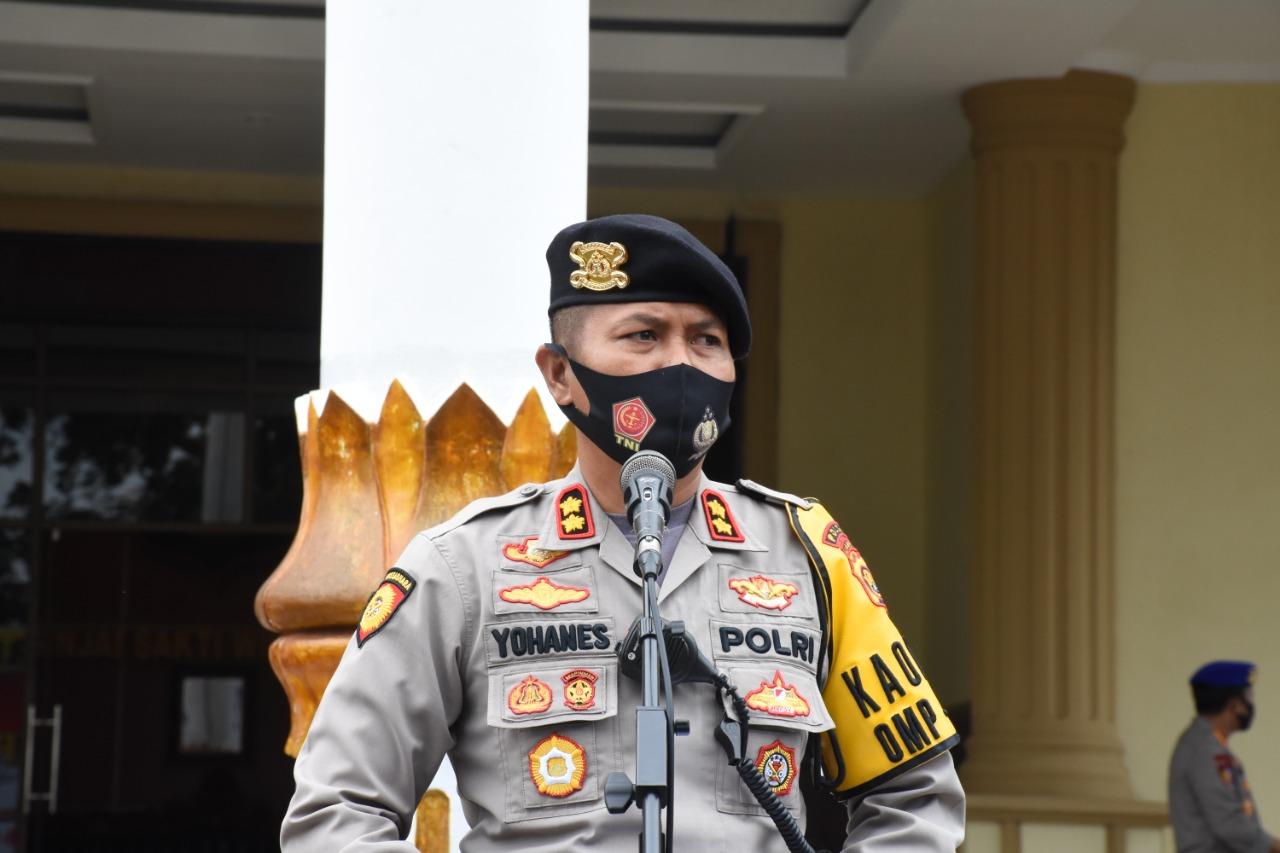 Pimpin Apel Tahap Kampanye OMP, Dirsamapta Polda Jambi Imbau Personel Ajak Warga Patuhi Protokol Kesehatan