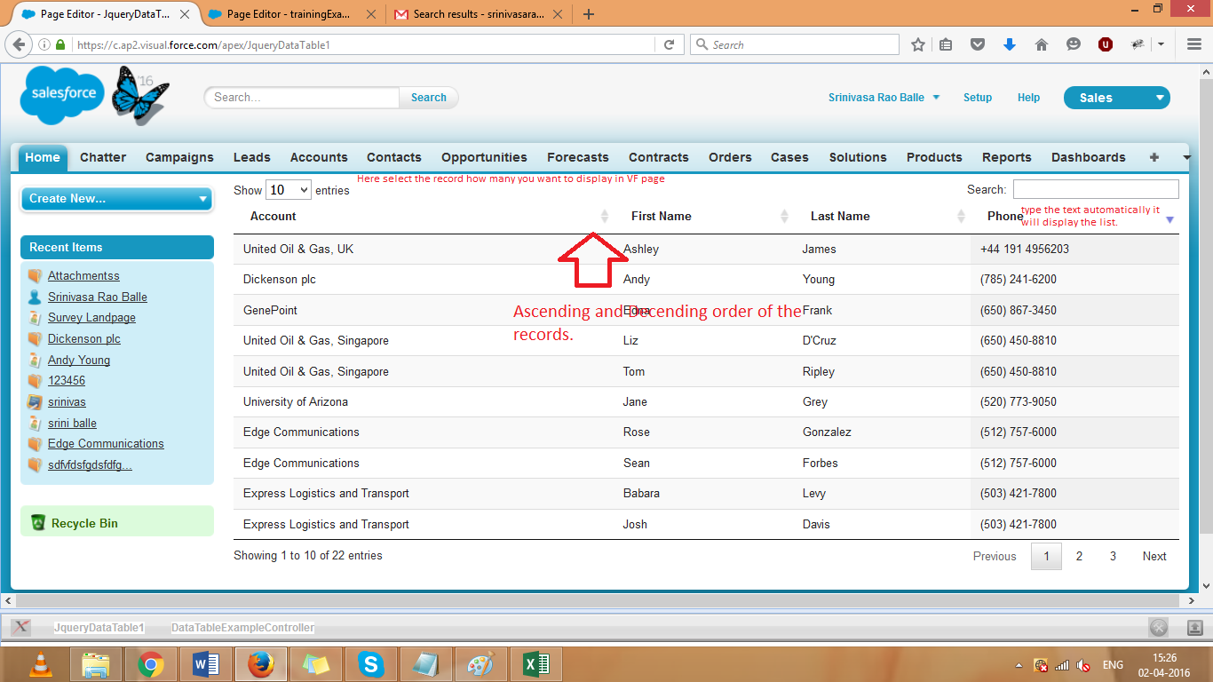 Jquery data tables in visualforce pages salesforce for Datatable css