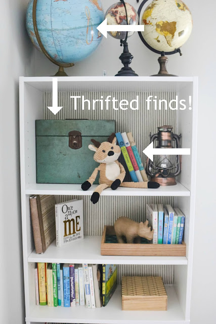 shelves styled for a kid's room