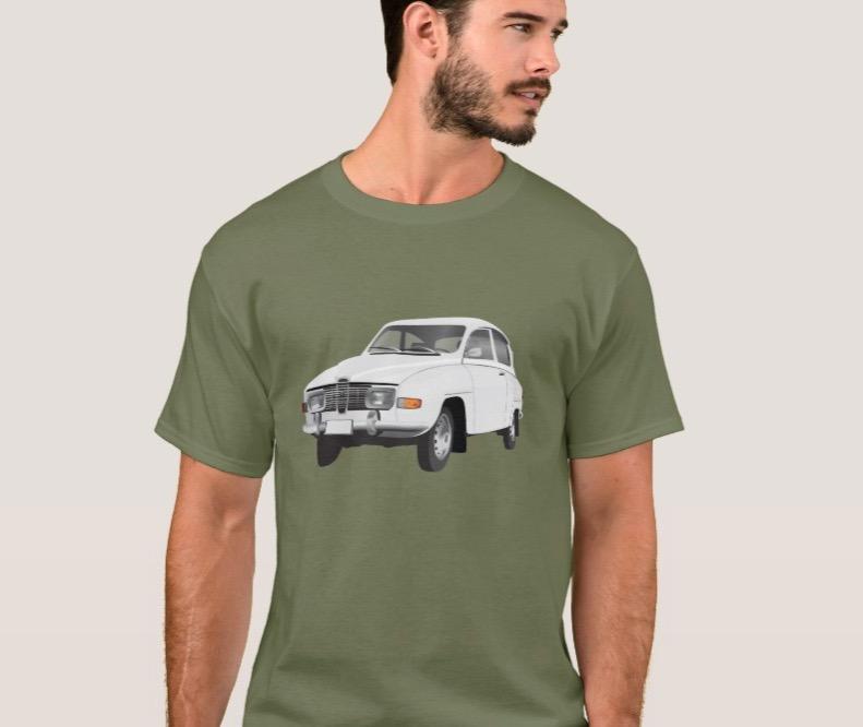 saab 96 classic white car illustration