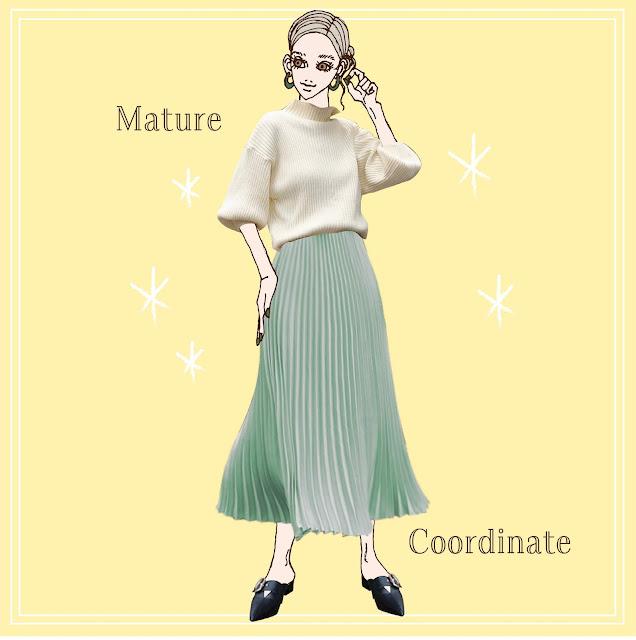 ふんわり袖ニットとプリーツスカートのコーディネート