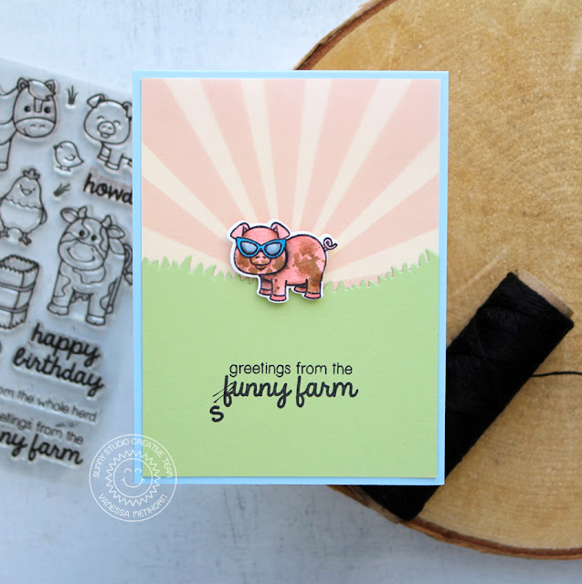 Sunny Studio Stamps: Barnyard Buddies Sunny Farm Piggy Card by Vanessa Menhorn