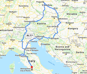 Self-drive Holiday ITALY & E/EUROPE 2017 (Click the map for journey from Day 1)