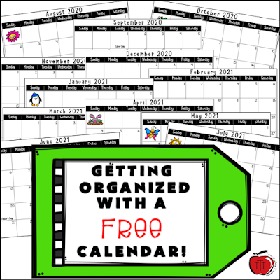 Free 2020 - 2021 School Year Calendar. Image of all the included months from Terri's Teaching Treasures
