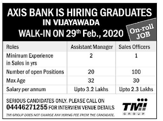 Axis Bank Vijayawada Recruitment 2020 Notification for Assistant Managers Jobs