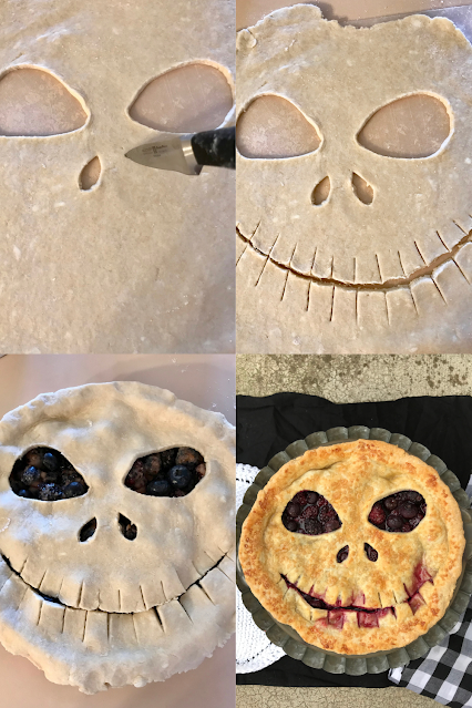 Showing a knife and how to cut the shape of the Jack Skellington face into the top pie crust, how to place it onto the pie, and a finished pie.