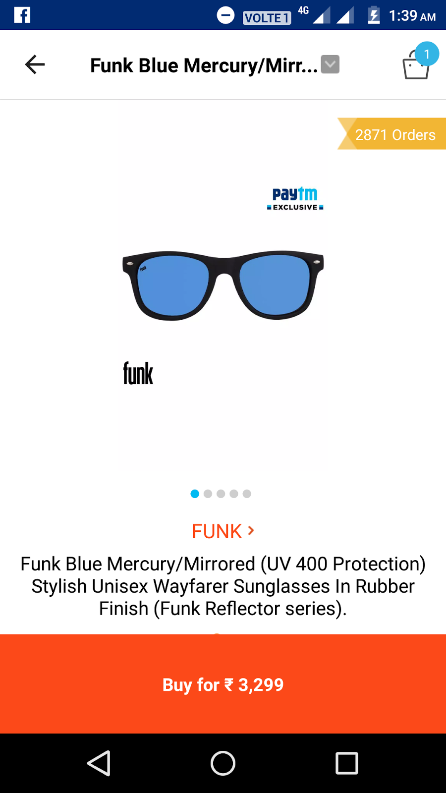 07473f5681ed7 Loot deal on funk sunglass at paytm. 100% cash back. Code  SPARK100 Steps   1  open paytm 2  Search FUNK 3  Add sunglass at cart 4  Apply code  SPARK100