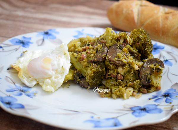 Brócoli con Champiñones y Jamón