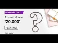 Amazon February Quiz Answers on 16 Feb 2021 Win 20,000 Pay