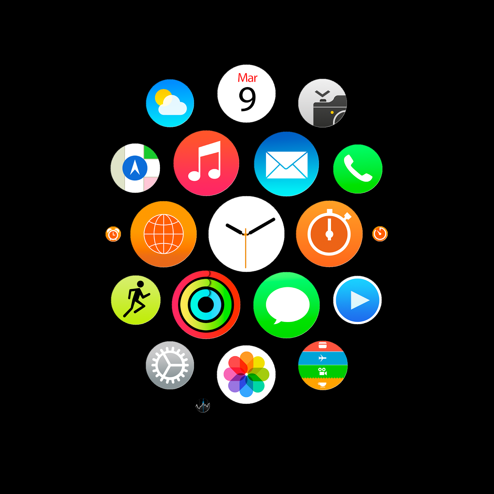 Apple Watch app icons wallpapers for iPhone, iPad