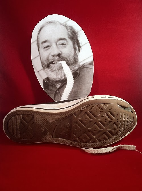 Photo of Ed Roberts, posted with a worn-soled sneaker