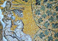 St. Peter's Basilica ceiling mosaics including image of Jesus Christ or Helios.