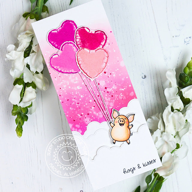 Sunny Studio Stamps: Hogs & Kisses Fluffy Cloud Border Dies Bold Balloons Love Themed Card by Rachel Alvarado