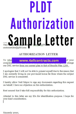 PLDT Authorization Letter Sample  | word doc