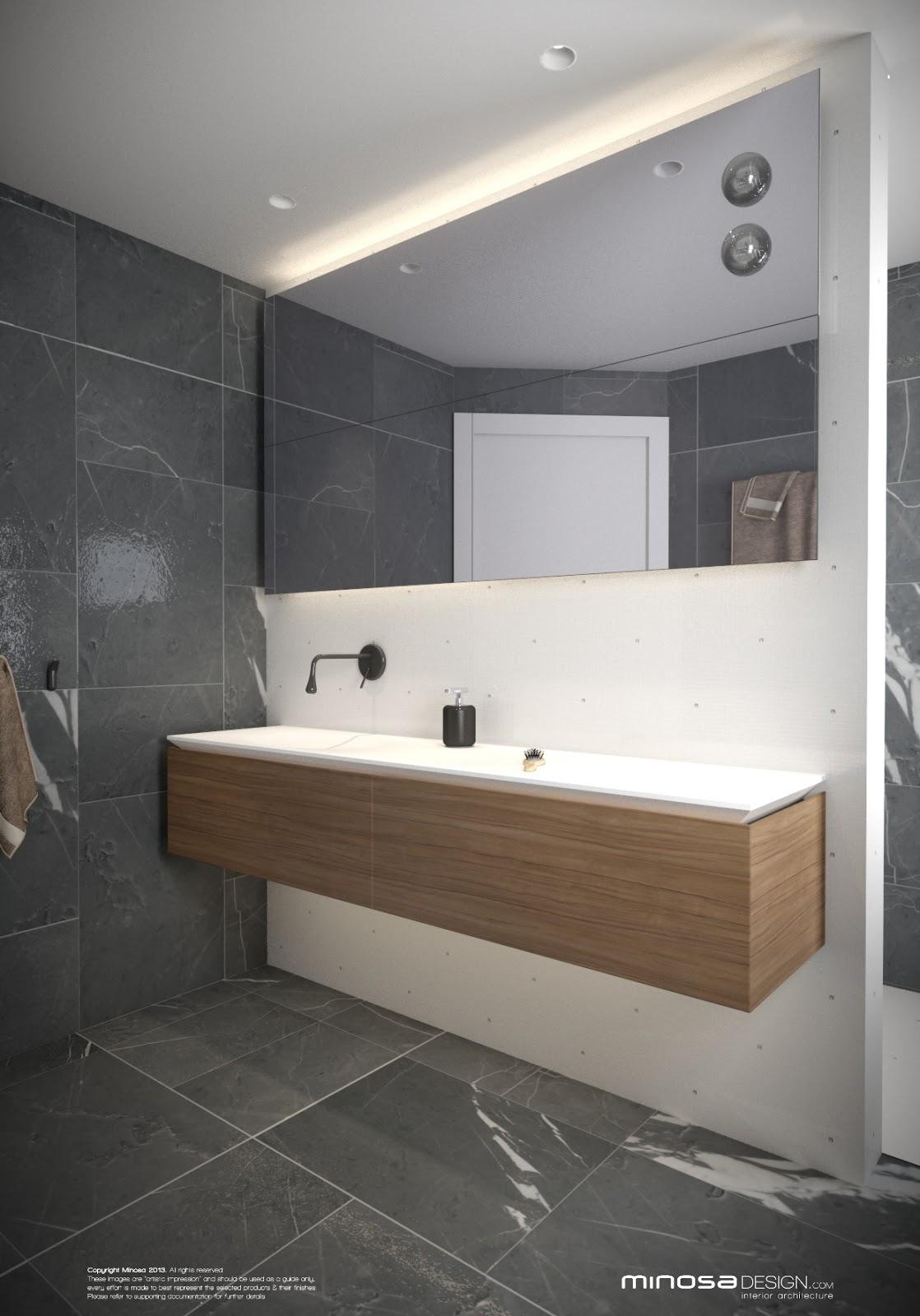 Modern Bathroom With Same Tile On Floor And Wall Main: Minosa: Small Modern Bathroom To Share