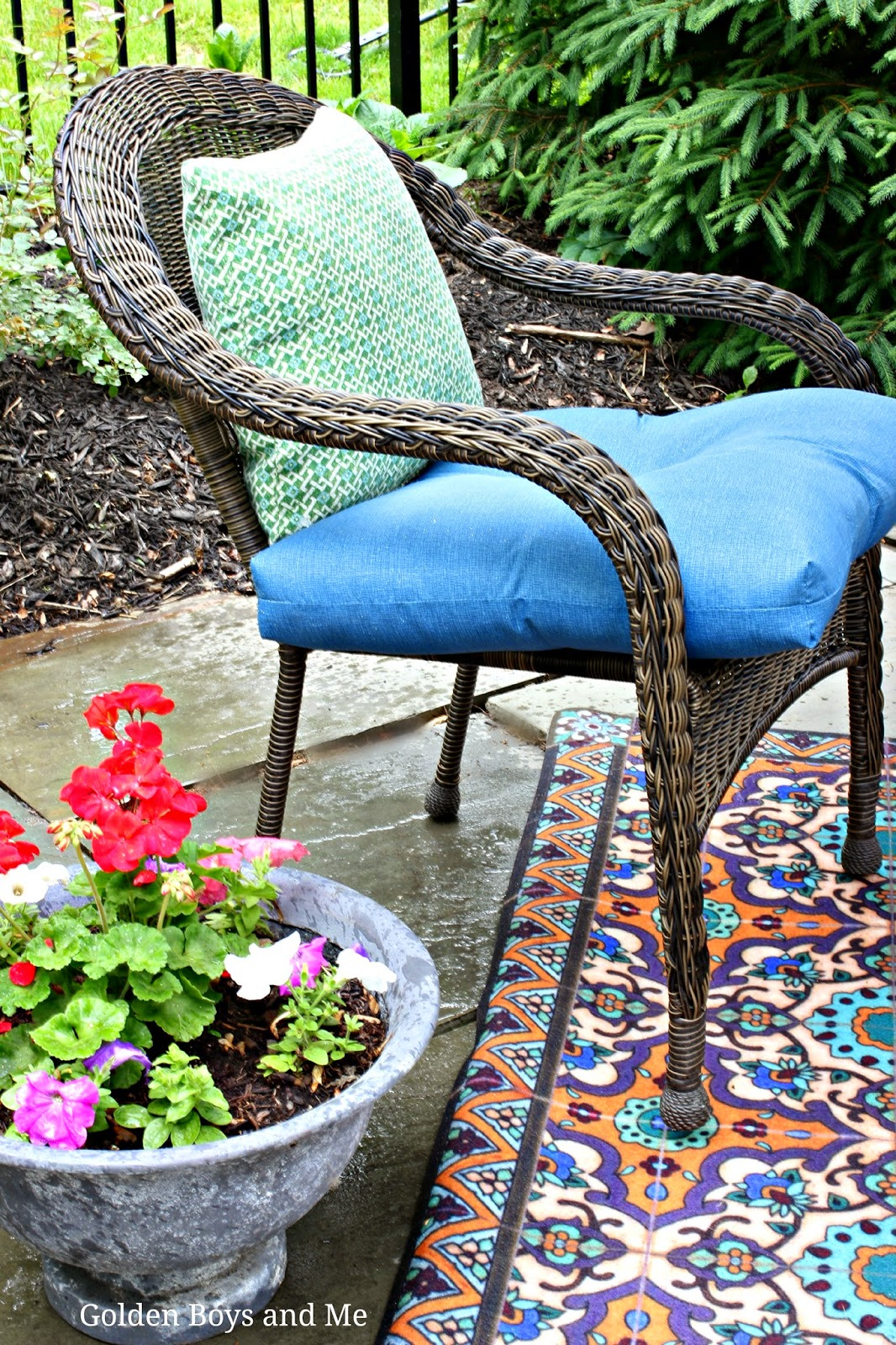 garden treasures patio chairs colorful dining golden boys and me our pool