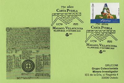 filatelia, tarjeta, matasellos, Carta Puebla, Villaviciosa