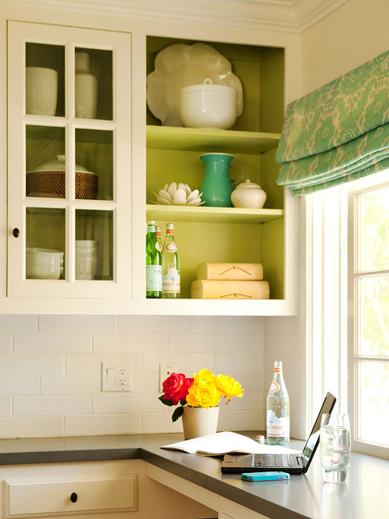 These open kitchen shelves were created by simply removing the cabinet doors! A creative upgrade