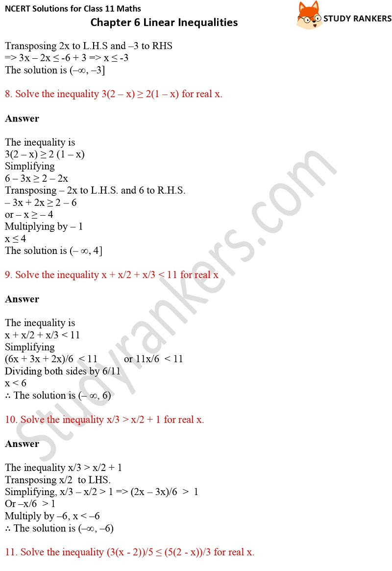 NCERT Solutions for Class 11 Maths Chapter 6 Linear Inequalities 3