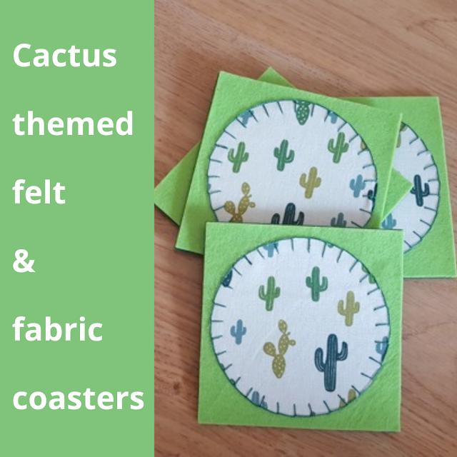 Cactus themed felt & fabric coasters