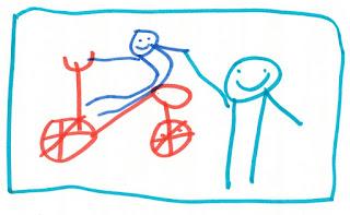 Rotes Fahrrad, Nixklusionsmännchen sitzt drauf. Ein anderes Männchen steht daneben und gibt ihm lächelnd die Hand.