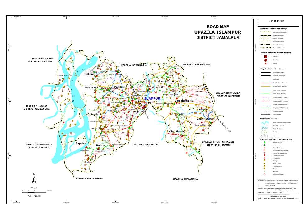 Islampur Upazila Road Map Jamalpur District Bangladesh