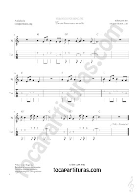 Tablatura y Partitura de Banjo Punteo del Villancico Un Niño Andaluz Tablature Banjo Sheet Music with chords