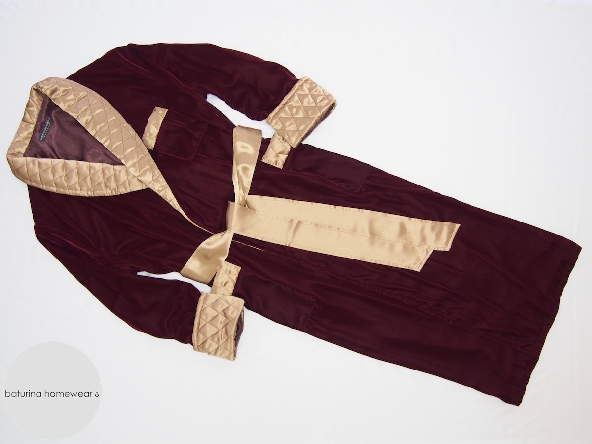 b7fb459614 Burgundy velvet dressing gown quilted gold silk shawl collar classic luxury  robe mens.