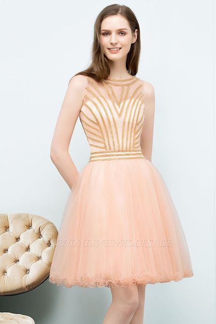 A-line Short Sleeveless Beading Tulle Homecoming Dresses