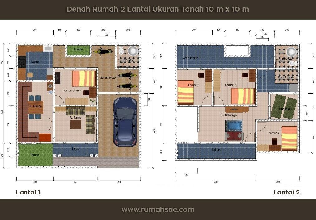 Denah Rumah Minimalis Sederhana Ukuran Tanah 10 m x 10 m