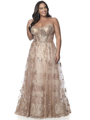 Sweetheart Blush Plus Size Prom Champagne/Rose Gold Color dress