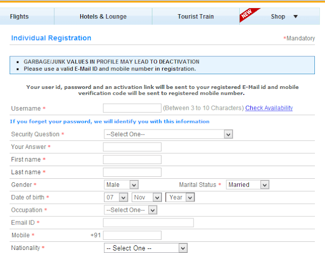 This is a picture of IRCTC registration form