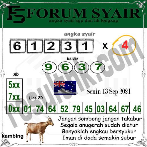 Forum syair Sidney Minggu 12 September 2021