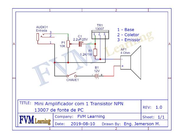 Mini Amplificador com 1 transistor 13007