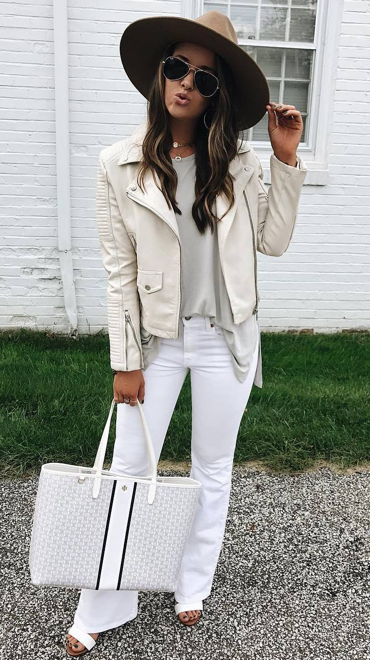 white outfit inspiration to copy this fall : hat + jeans + bag + top + leather biker jacket