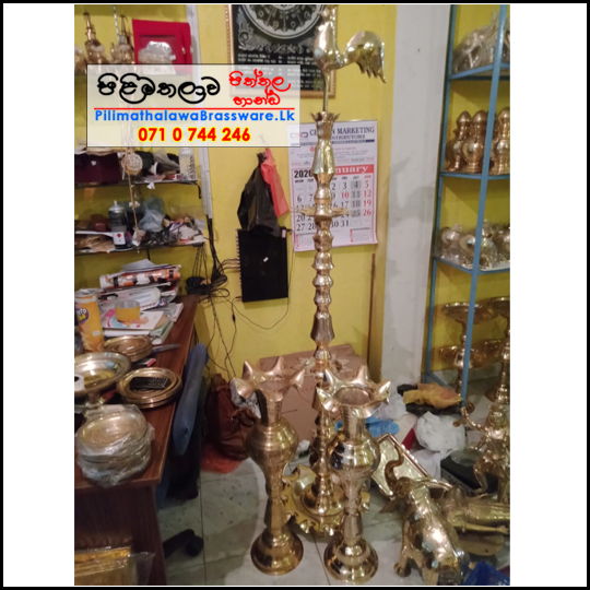 Traditional Brass Oil Lamp 6ft - Kukula Pahana - Ceremonial Lamp - කුකුලා පහන