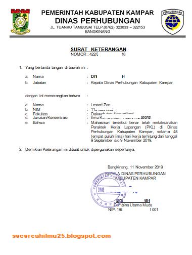 Contoh Format Surat Keterangan Telah Melaksanakan PKL ...