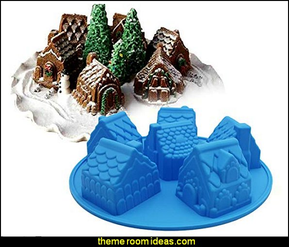 Christmas House  baking mould biscuits chocolate candy  christmas kitchen decorations - Christmas table ware - Christmas mugs  - Christmas table decorations - Christmas glass ware - Holiday decor - Christmas dining - christmas entertaining - Christmas Tablecloth - decorating for Christmas - Santa mugs - Christmas Cookie Cutters  - snowman and reindeer kitchen  accessories - red cardinal kitchen decor - seasonal dinnerware