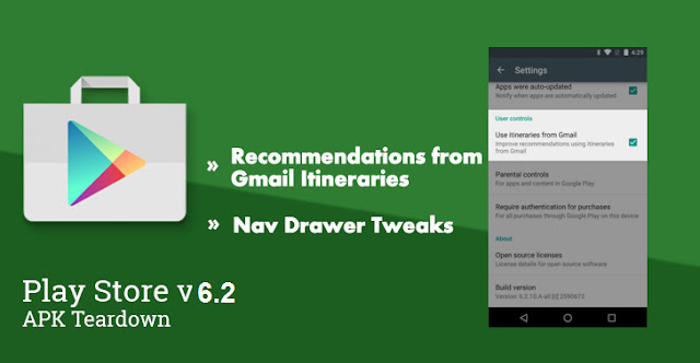 Google Play Store v6.2 Update is Live with App Recommendations From Our Itineraries In Gmail : Download APK