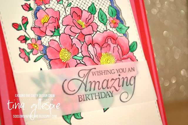 scissorspapercard, Stampin' Up!, CASEing The Catty, Lovely Lattice, Humming Along, Itty Bitty Birthday, In Colour DSP, Watercolouring, Vellum