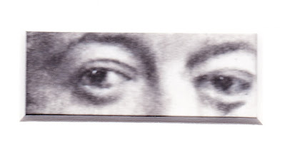 """""""Eyes of Diego Rivera"""" Charcoal and colored pencils on Paper, c. 2007 2 x 4.5 inches"""
